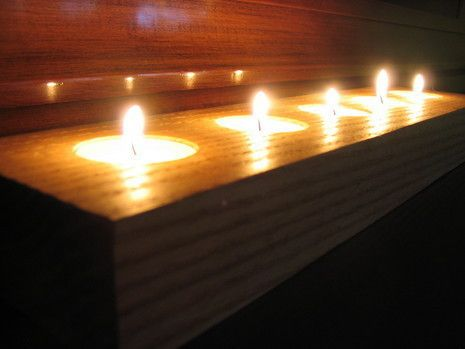 """If you have some leftover scraps from your latest woodworking project, how about using them to make votive candle holders? They�re easy to produce and beautiful when completed, which means you might want to make a few for yourself and some to give as gifts. Supplies 1. A chunk of wood the size of your choice. Although, a standard votive cup is about � inch high, which means you�ll want to use a piece of wood double that thickness, or so. (My hunk is 3.5"""" wide by 13.75"""" long by 1.5"""" thick.)…"""