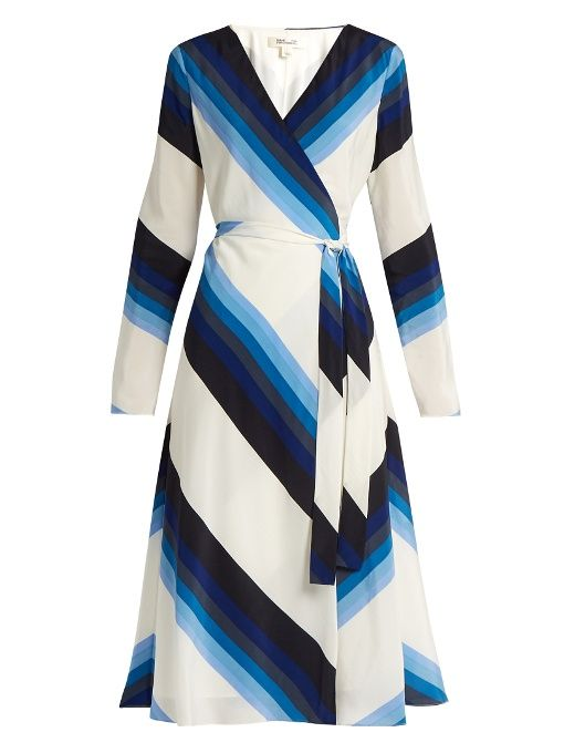Diane Von Furstenberg V-neck striped silk-crepe wrap dress | Mode ...