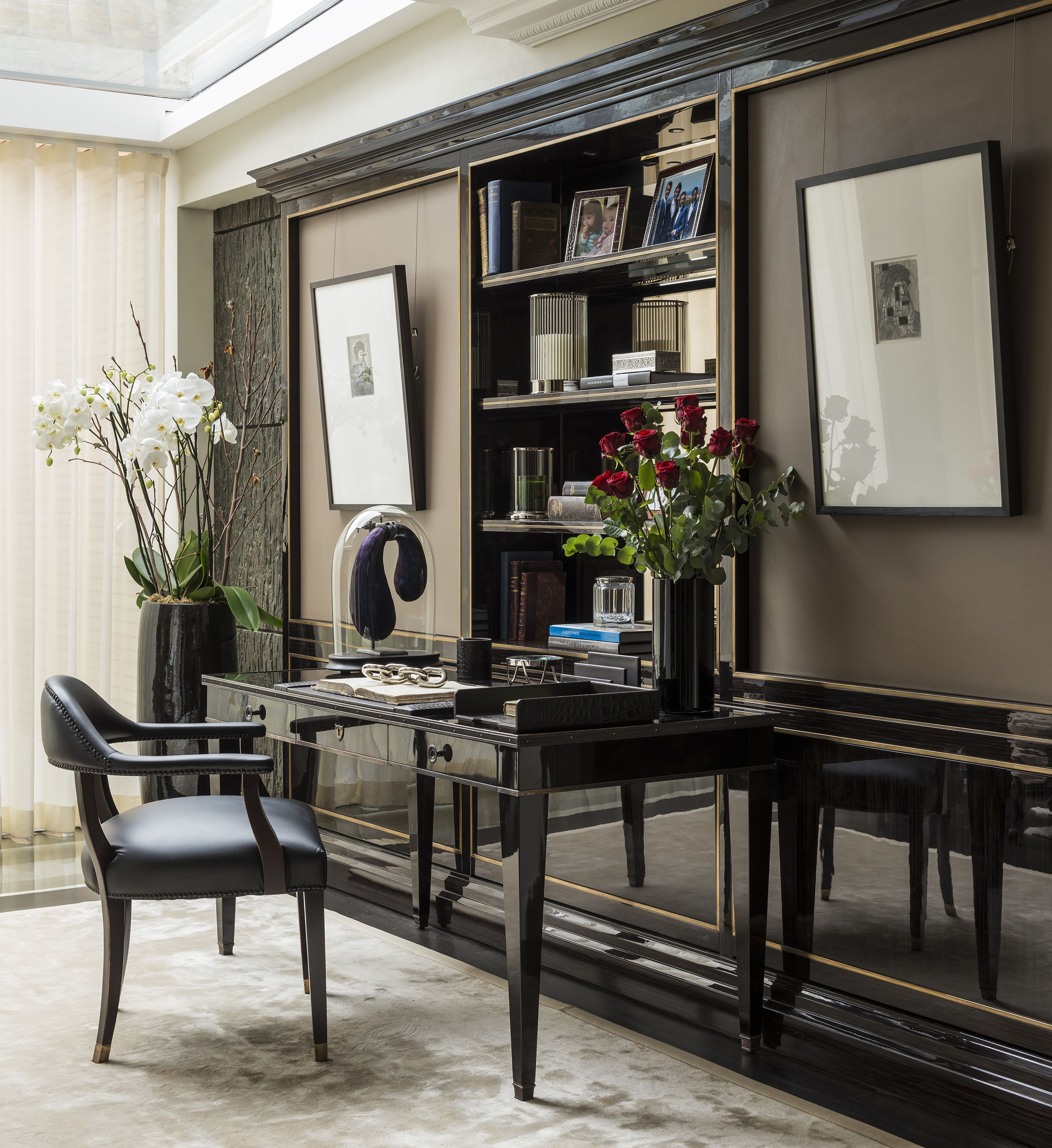 Contemporary Study Room with Black Laquered Desk and Abercrombie ...