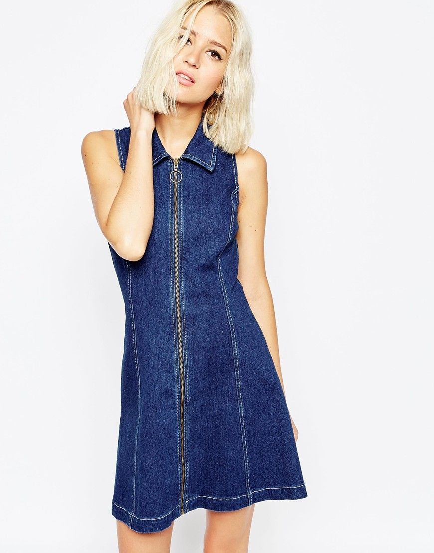 image 1 of asos denim zip through dress with collar ss16 pinterest zip clothes and wardrobes. Black Bedroom Furniture Sets. Home Design Ideas