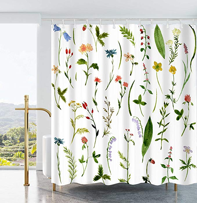 Amazon Com Ao Blare Leaves Plants Shower Curtain Bloom Flower