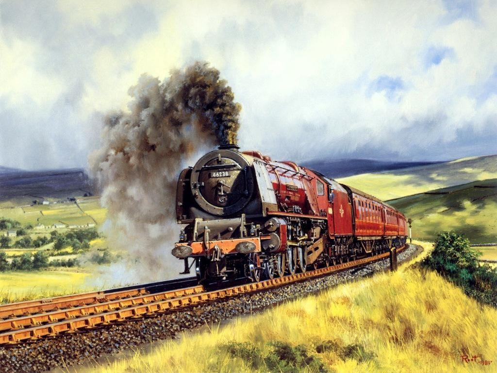 Railroad Art Oil Painting Art Train Journeys Art