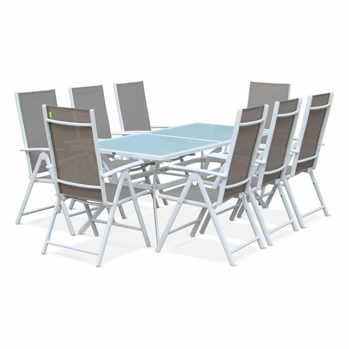 Salon De Jardin En Aluminium Table 8 Places Blanc Textilene