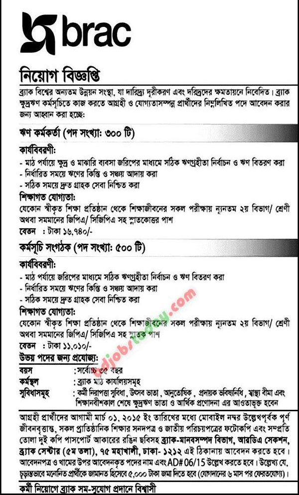 Non Government Organization Brac Ngo Jobs Circular  For Loan