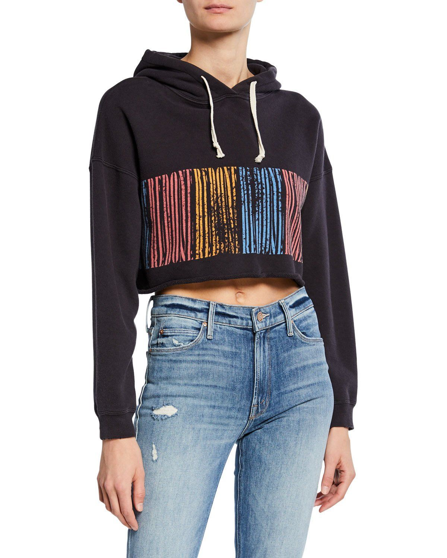 RE/DONE Logo Stripe Cropped Raw Hoodie Hoodies, Striped