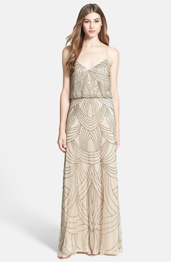 New adrianna papell bridesmaid dress beautiful beaded for Wedding dress beading patterns