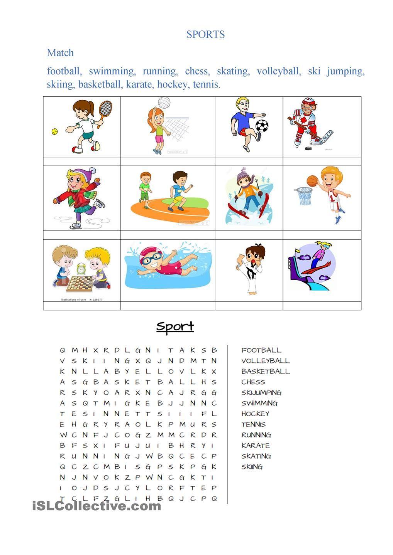 Sports English Language Arts Elementary Sports Activities For Kids Kids English Kindergarten gk worksheets pdf