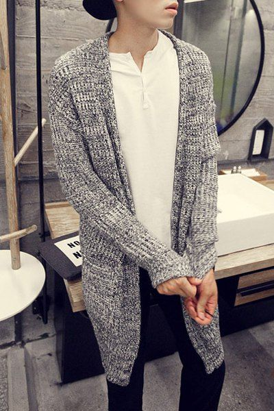 Pocket Design Loose Fit Collarless Long Sleeve Stylish Polyester ...