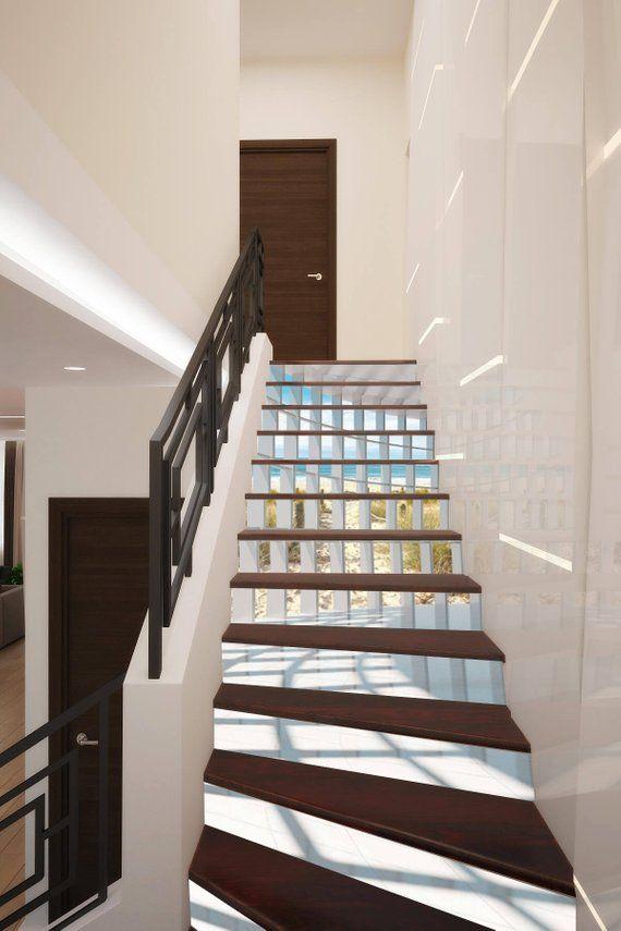 Best 3D Geometry Stairway Decoration Adhesive Vinyl Stair Riser 400 x 300