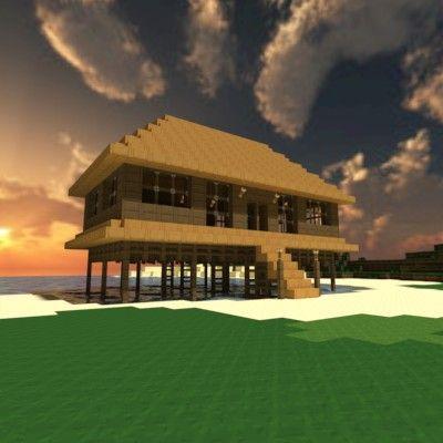 Beach House On Stilts Minecraft Project House On Stilts Minecraft Beach House Minecraft