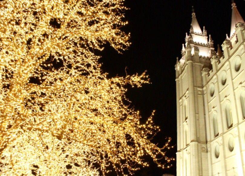 Light at temple square. Salt Lake City temple