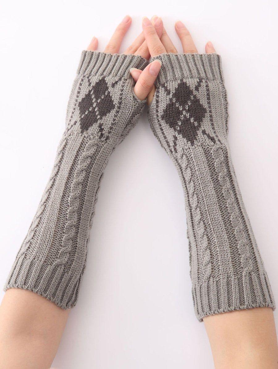 Winter Warm Hemp Decorative Pattern Diamond Crochet Knit Arm Warmers ...