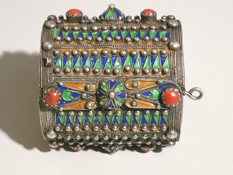 Reserved Vintage Kabyle Berber Algerian Old Silver Enamel