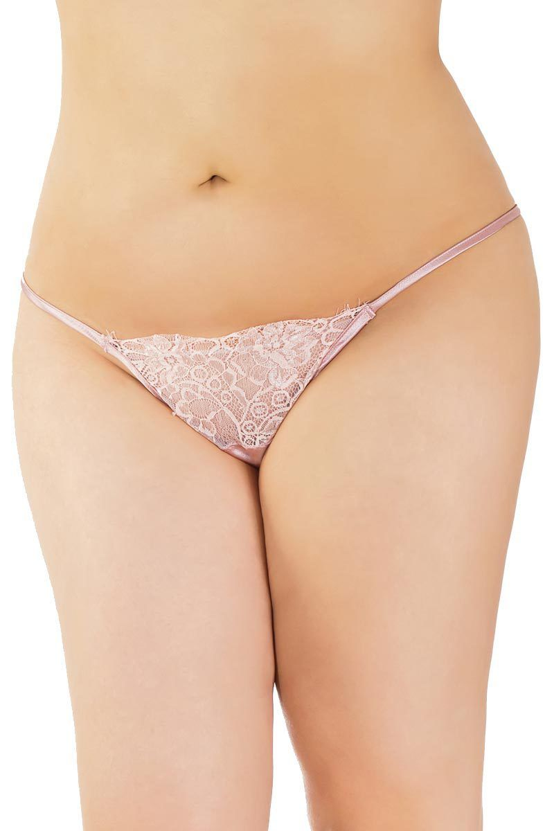 plus size curvy bbw eyelash lace satin adjustable g-string underwear
