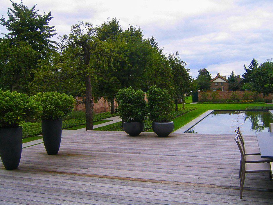 Exclusieve vijver potten hardhouten vlonder terras belgium dutch