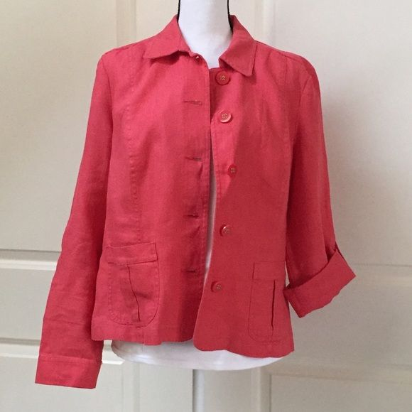 Shop Women's Charter Club size L Jackets & Coats at a discounted price at Poshmark. Description: Cute summer linen jacket! 5 button, two pocket, roll up button sleeves, elastic back detail, tangerine in color. Size L. Sold by maxxva. Fast delivery, full service customer support.