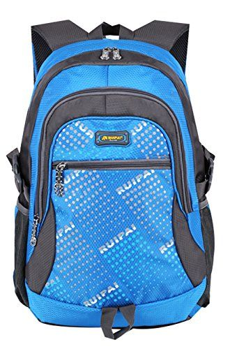 JiaYou Girl Boy Dot Teenager 25L Backpack Travel Bag Student Shoulders Bag SchoolbagSky Blue ** Click image for more details.