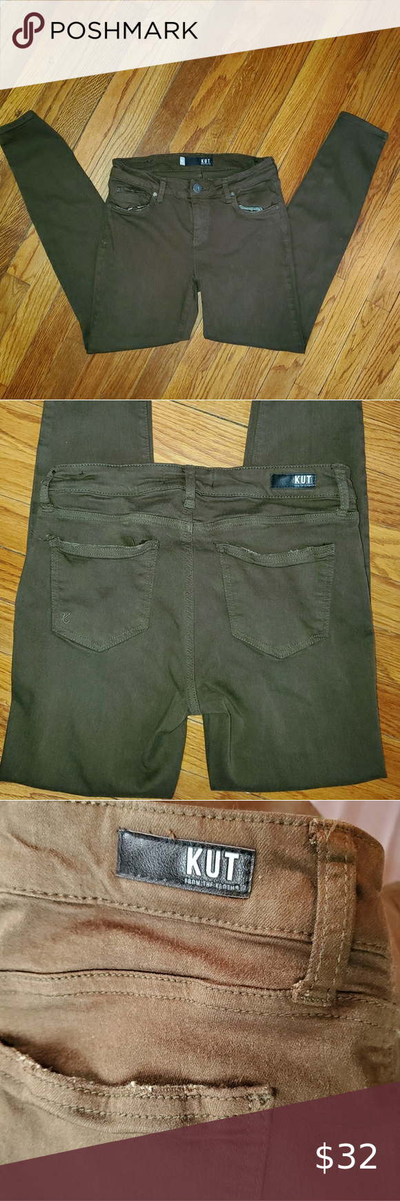 Kut from the Kloth size 4 Mia toothpick skinny -the actual color is hard to capture with the camera. I took pics with, and without the flash. It looks like dark brown but there could possibly be some green also. It is not Olive.  -size 4 -28 in inseam,  see pics above for measurements  -smoke free home -cotton/rayon/poly blend  -super soft    #0202 Kut from the Kloth Jeans Skinny