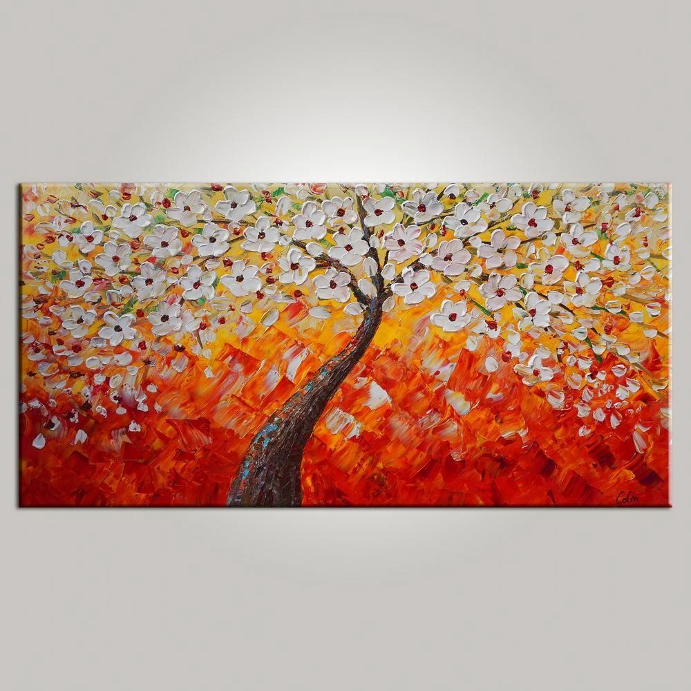 Tree Painting, Dining Room Wall Art, Flower Painting, Abstract ...