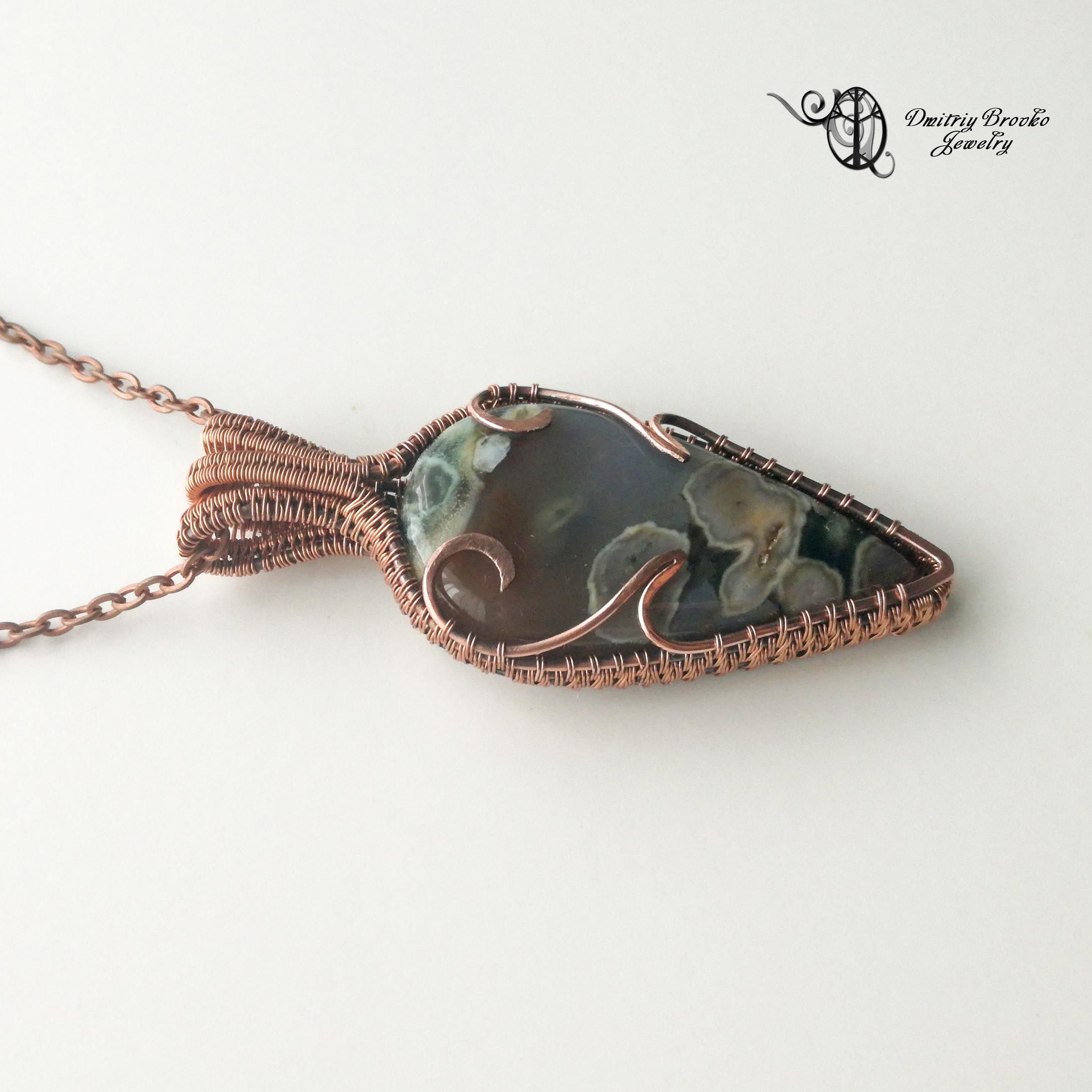 Photo of Agate Necklace. Mens necklace. Wire wrapped pendant. Wire weave jewelry.