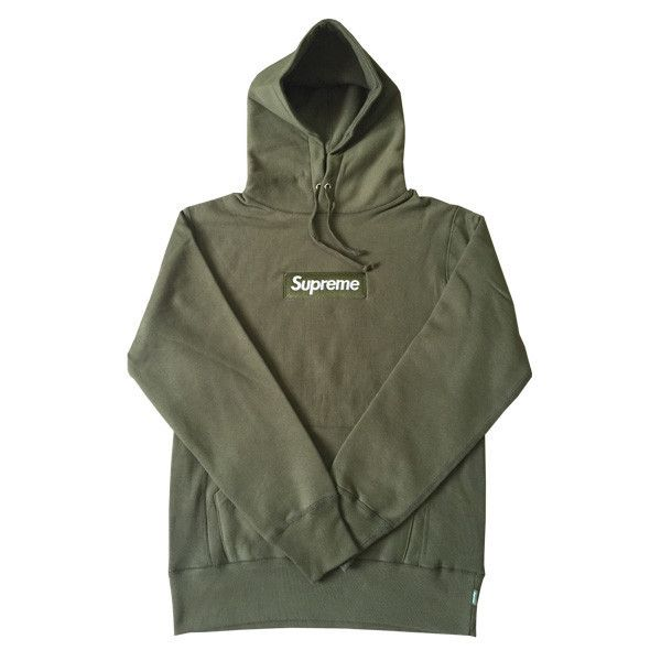 c35467f0e07a Supreme Box Logo Hoodie (Olive Green) ❤ liked on Polyvore featuring tops