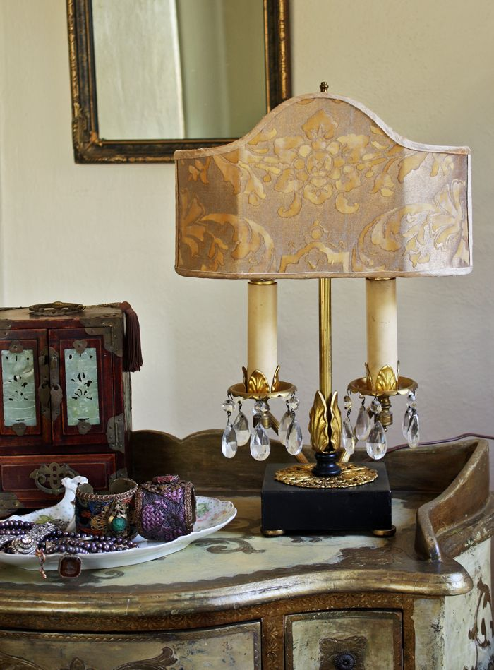 Fortuny fabric shade - Beautiful vintage two arm lamp Shade in the Carnavalet patters carmel and gold colorway - GORGEOUS! contact@luxelamps.com