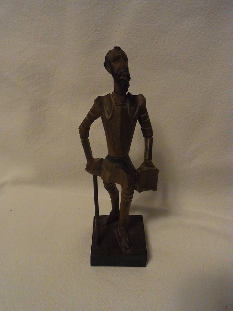 Vintage Spain OURO Artesania Don Quichote Carved Wood Figure #D