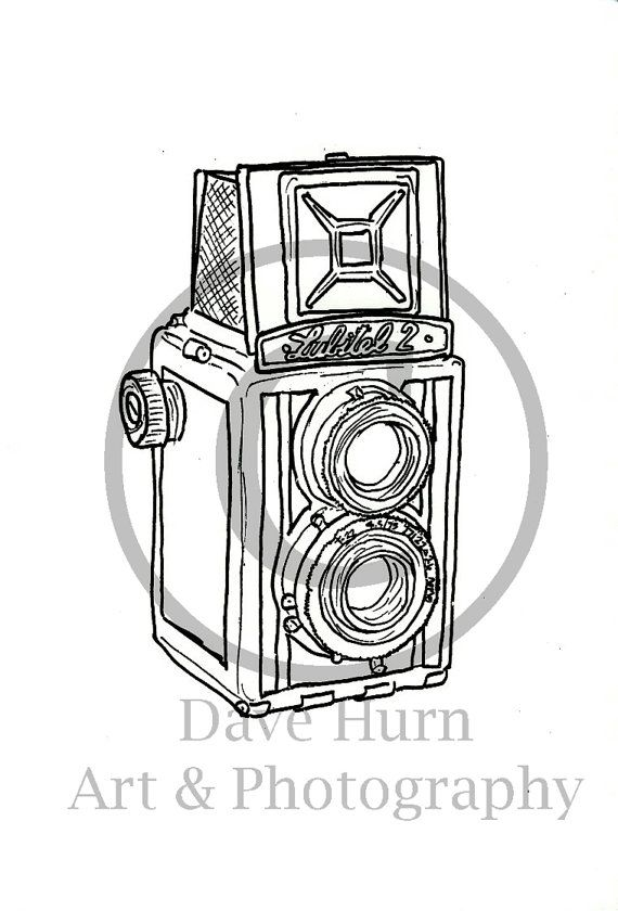 Screenprint of Lubitel 2 TLR Camera From Hand Drawn Wire