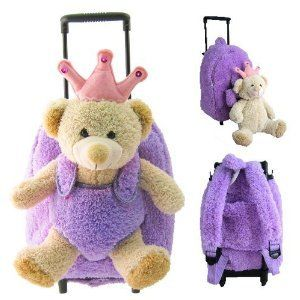 Kreative Kids Princess Bear Plush Rolling Backpack