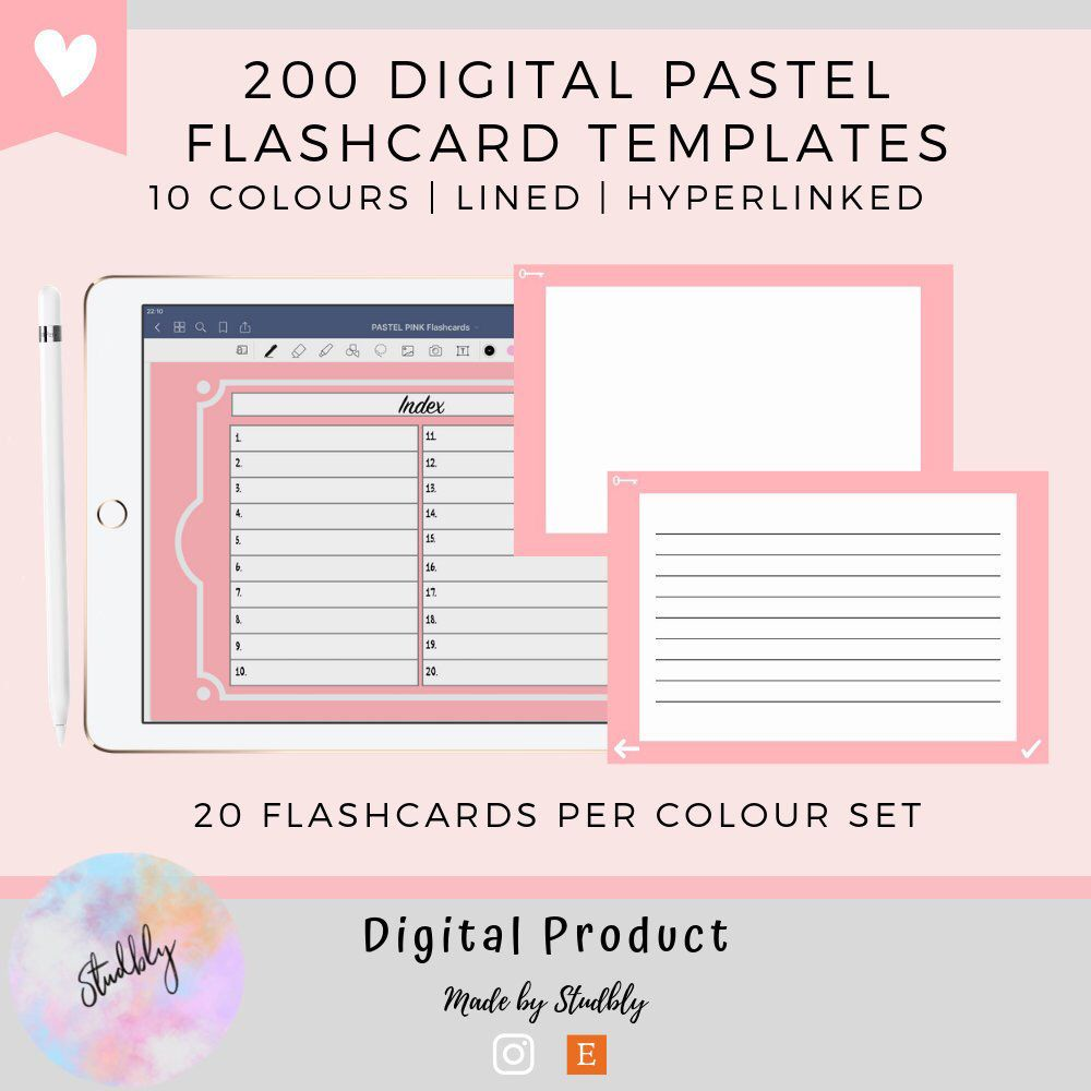 1000x Digital Flashcards Ultimate Template Set Pdf Lined Etsy Study Flashcards Flashcards Digital Sticker
