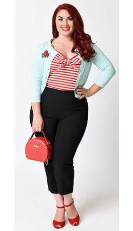 27323883c6321b Plus Size 1950s Rockabilly Style Black High Waist Stretch Capri Pants