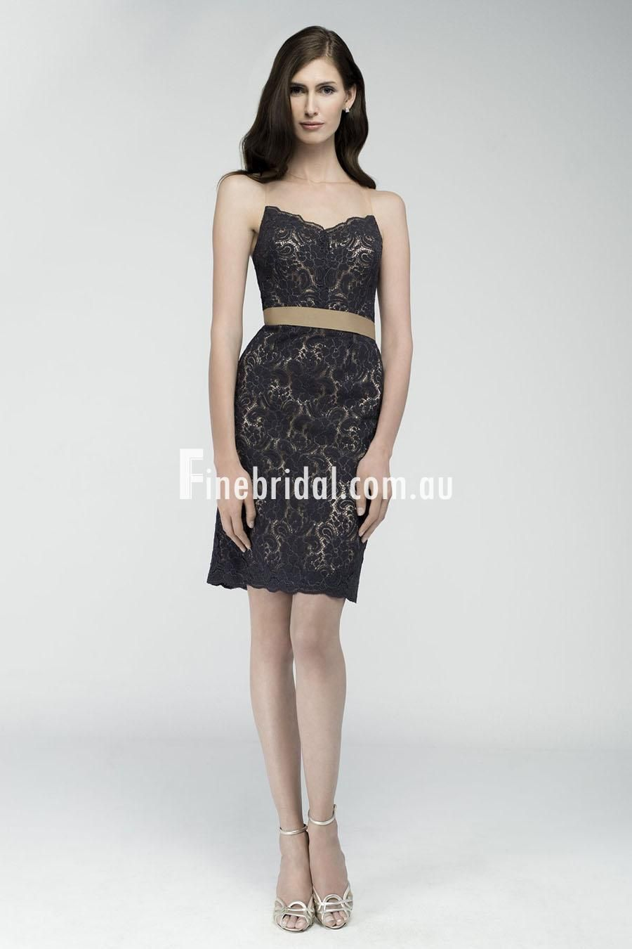 Illusion charcoal sleeveless sheath short bridesmaid dress