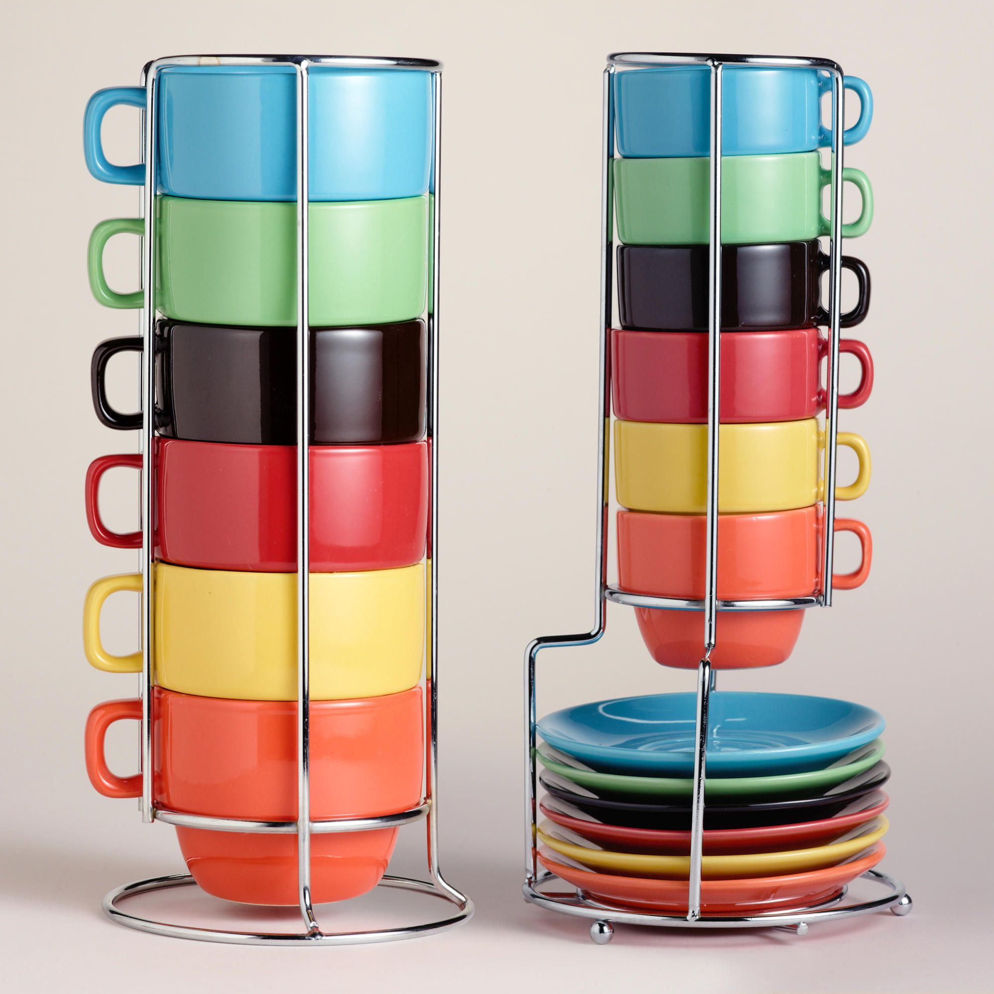Coffee Espresso Latte Cafe Ivory Brown Kitchen Curtains: Multicolor Stacking Mugs Or Espresso Cups Sets Of 6