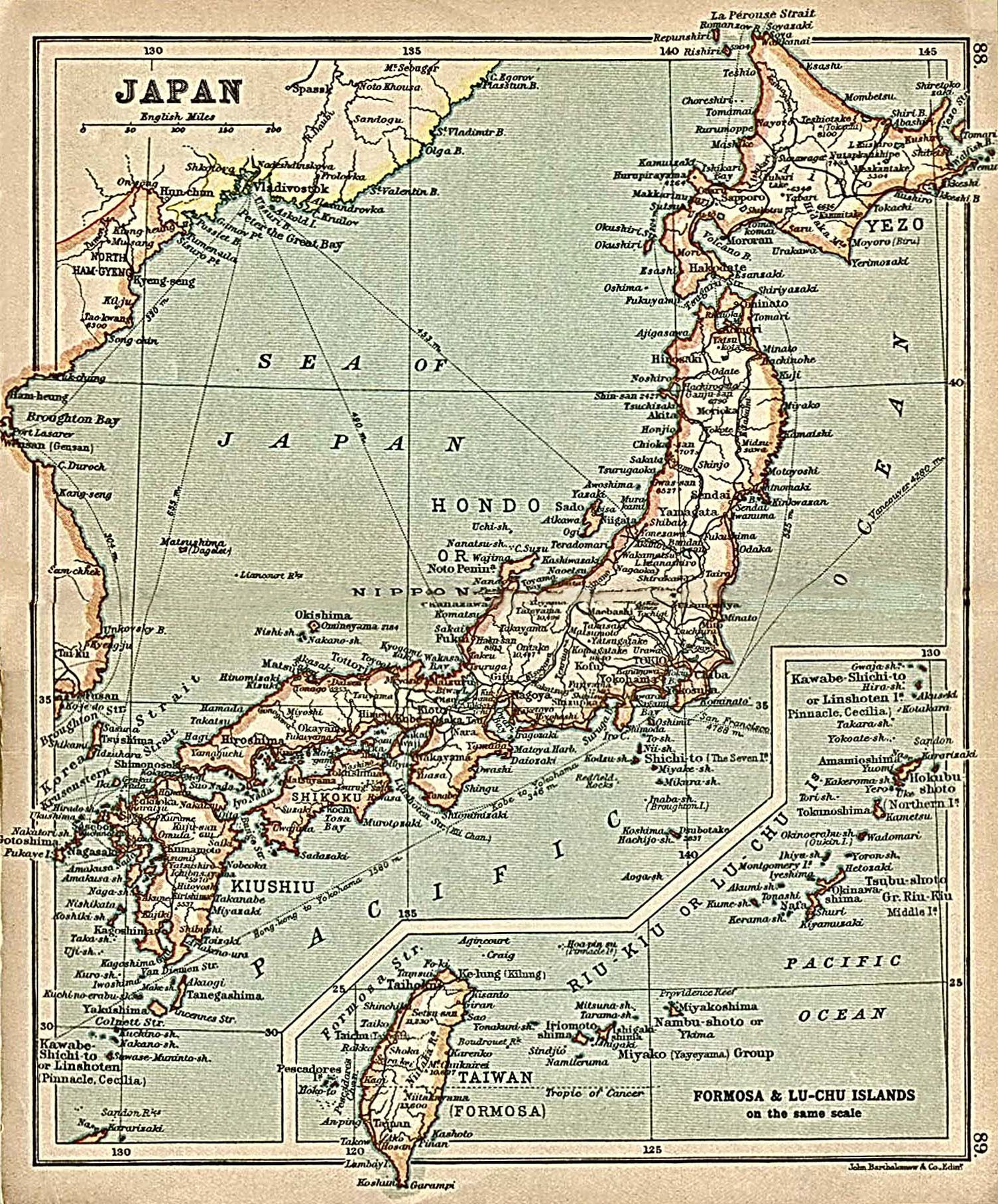 Japan With Inset Map Formosa 年的日本地圖其中包括台灣 Ainu - Japan map 6