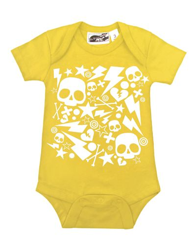 Bolts & Skulls Yellow & White One Piece by My Baby Rocks - gender neutral baby clothes