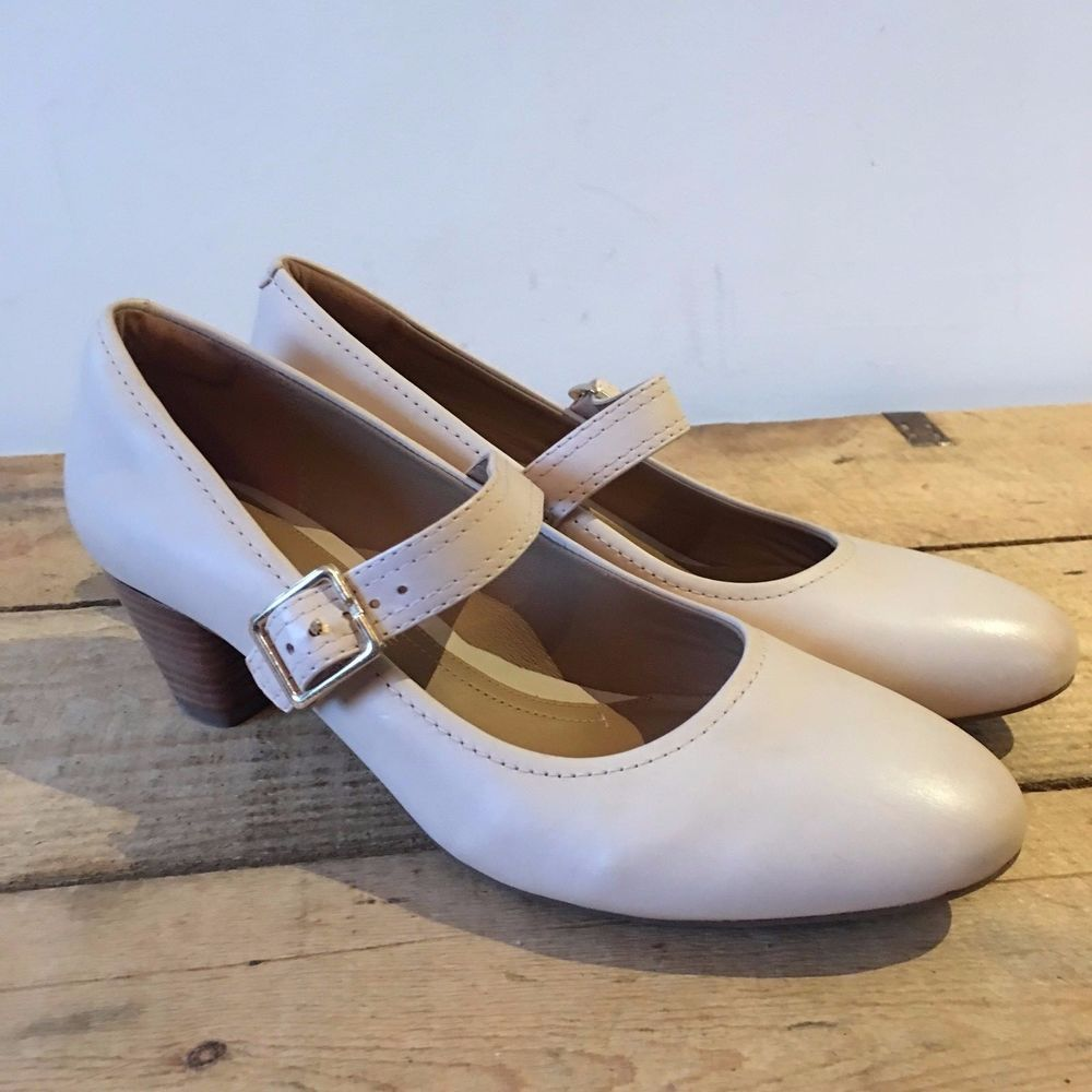 UK SIZE 7 E WIDE FIT WOMENS CLARKS CREAM LEATHER MARY JANE HEELS SHOES  #ClarksArtisan