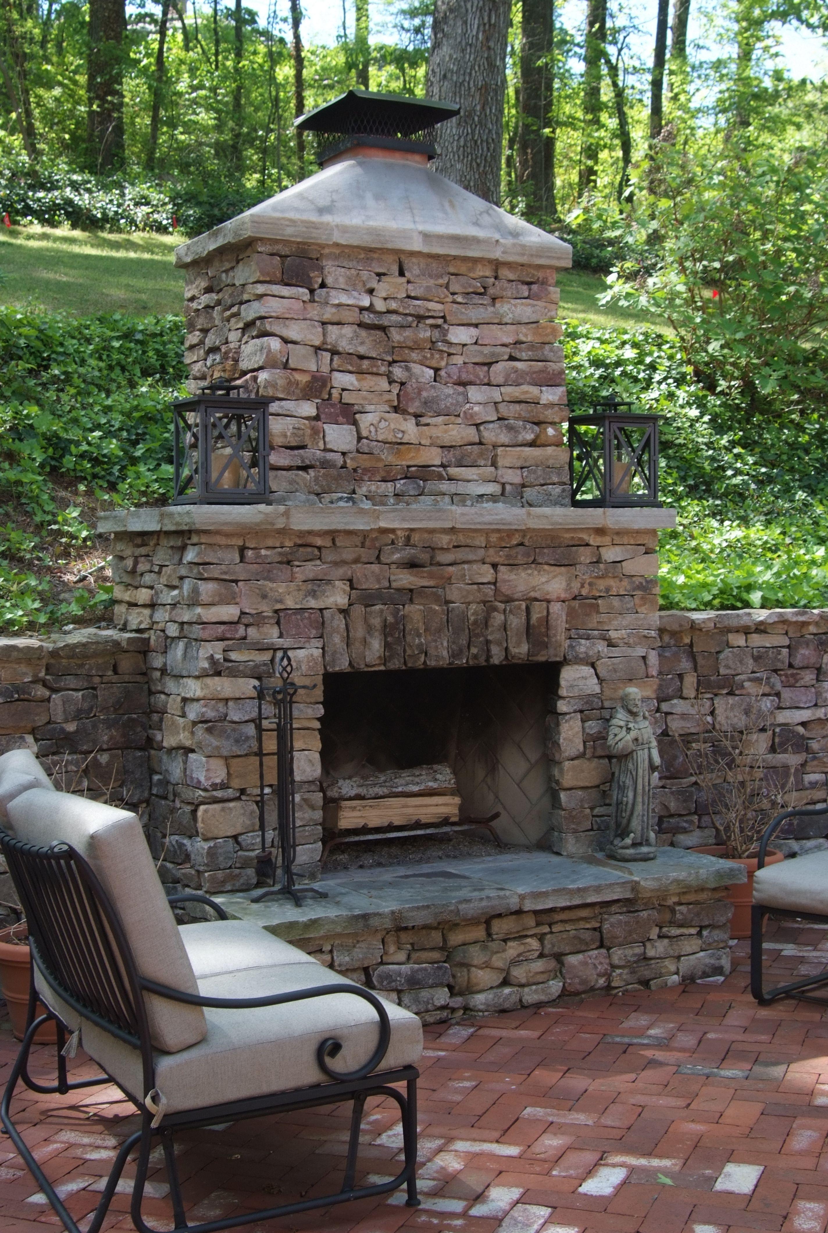 diy backyard brick fireplace