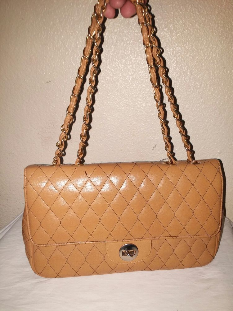 Vintage Myers Tan Quilted Chain Strap Handbag Purse Leather Excellent Condition Meyers Shoulderbag