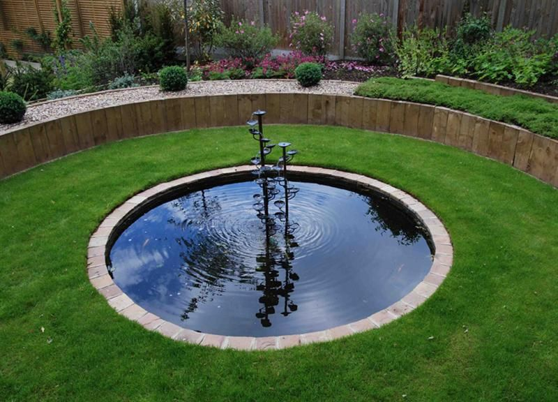 circular lily pond and water feature gardening