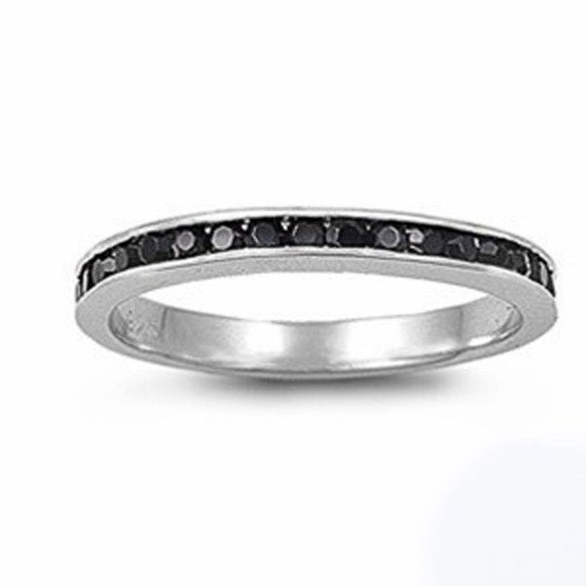 Stackable Eternity Bands Rose Yellow or .925 Sterling silver Rings Sizes 4-10