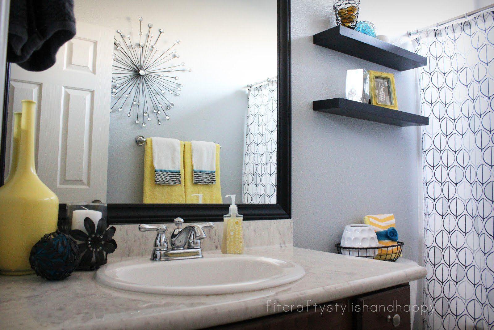 Black And Gray Bathroom Decor Inspirational Fit Crafty Stylish And Happy Guest Bathroom Makeover In 2020 Yellow Bathroom Decor Gray Bathroom Decor Yellow Bathrooms