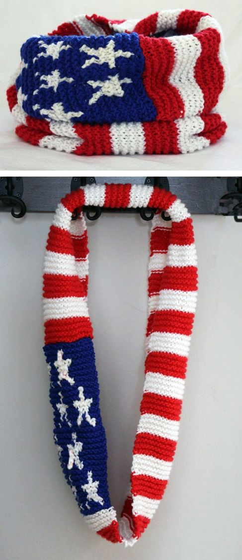 Knitting pattern for American Flag Cow Infinity Scarf | Knit | Pinterest