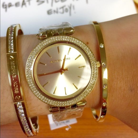 Michael Kors Mini Darci Watch Bracelet Set Gift The Of Elegance Or Keep It For Yourself A 100 Authentic Gold Tone