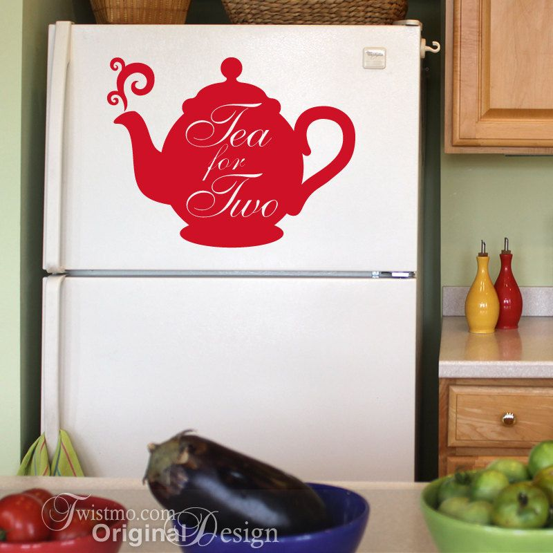 Vinyl Wall Decal Red Teapot Tea For Two Kitchen Decor By