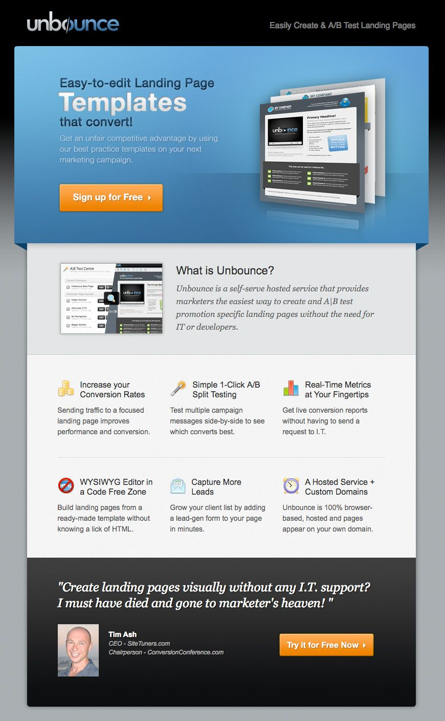 Unbounce Sign-up Landing Page | Web Design - Landing Page Examples ...