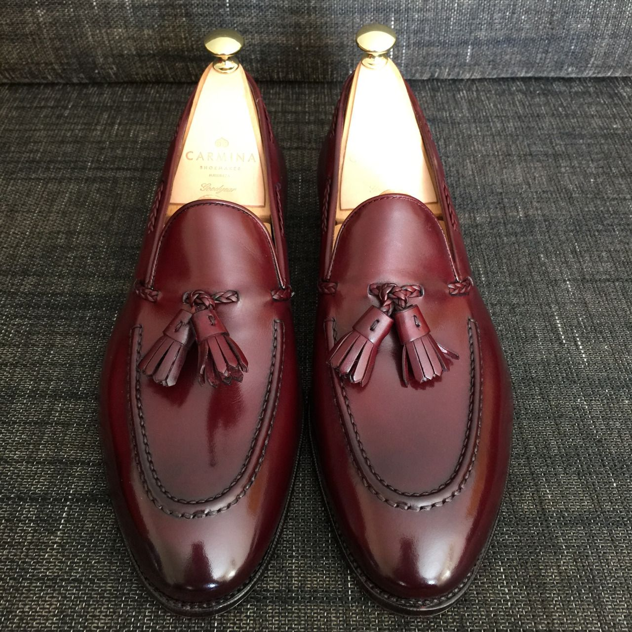 63c36cd51f2 Carmina Braided Tassel Loafer in Dark Burgundy with a mirror shine by Rodod  (personal collection)