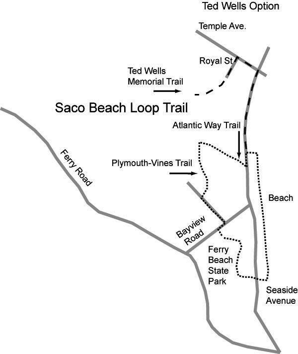 Saco Beach Loop trail map courtesy Saco Bay Trails Maine The Way