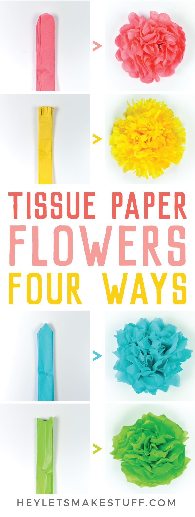 How to Make Tissue Paper Flowers Four Ways images