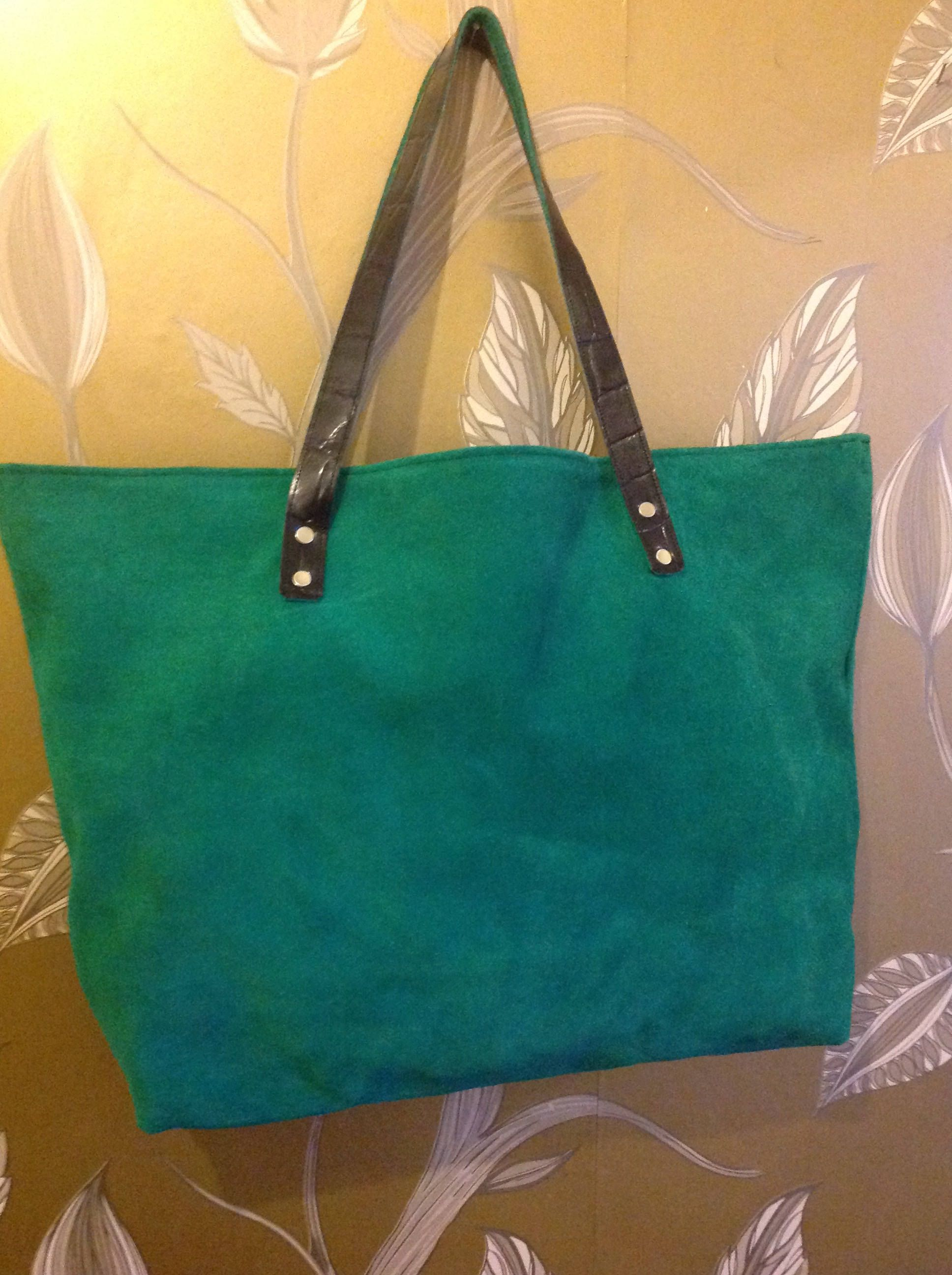 a468b3aaaf8d82 Black Friday Sale! Green Suede Zara Tote bag - Handmade in UK 25% off