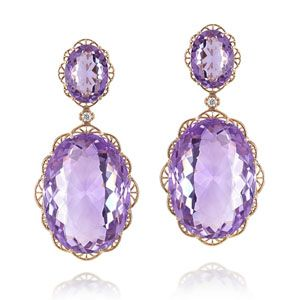 Filigrana Earrings Earrings in 18-kt pink gold composed of 56.60-carat amethysts  and diamonds weighing in total 0.06-carat.